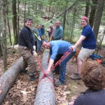 Volunteers building a walkway on the Powell Point Trail